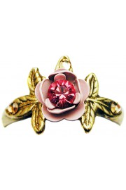 Michal Negrin Pink Rose with Leaves Ring