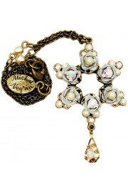 Michal Negrin Pearl White Roses Star Necklace