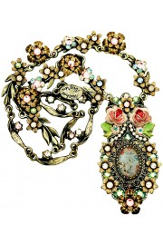 Michal Negrin Turn of the Century Roses Crystals Necklace