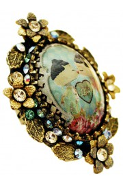 Michal Negrin Dolls Kiss Ornate Cabochon Cameo Ring