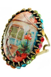 Michal Negrin Multicolor Pavilion Crystal Cabochon Cameo Ring