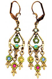 Michal Negrin Multicolor Floral Drops Earrings