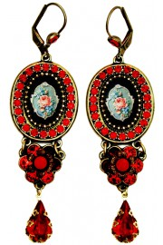 Michal Negrin Red Rose Cameo Drop Earrings