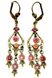 Michal Negrin Pink Floral Drops Earrings