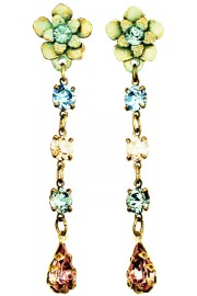Michal Negrin Green Lilac Peach Post Earrings