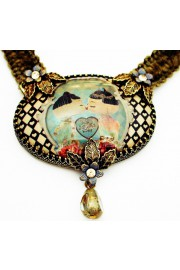 Michal Negrin Dolls Kiss Cameo Khaki Velvet Necklace