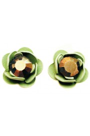 Michal Negrin Mirror Bronze Green Rose Stud Earrings