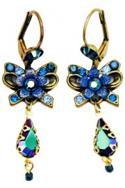 Michal Negrin Blue Crystals Bow Earrings