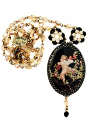 Michal Negrin Cupid Cameo Beaded Necklace