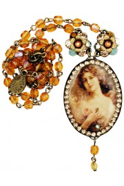 Michal Negrin Victorian Woman Cameo Beaded Necklace