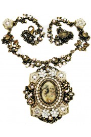 Michal Negrin White Baroque Medallion Necklace