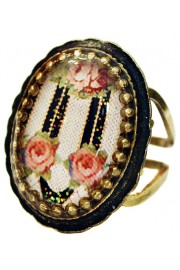 Michal Negrin Stripes Roses Oval Cameo Ring