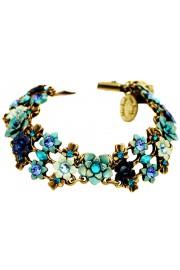 Michal Negrin Blue Turquoise Aqua Crystal Flowers Bracelet