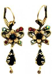 Michal Negrin Black Garnet Bow Earrings