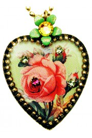 Michal Negrin Antique Rose Heart Necklace