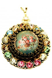 Michal Negrin Pastel Roses Crystals Locket Necklace