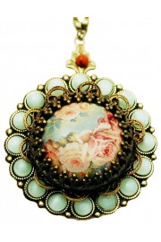 Michal Negrin Mint Beads Roses Cameo Locket Necklace