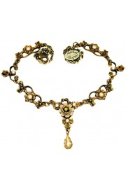 Michal Negrin Pearl Bronze Ornate Necklace