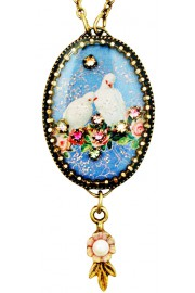 Michal Negrin Peace Doves Oval Cameo Necklace