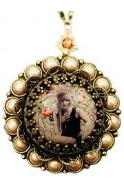 Michal Negrin Flapper Girl Pearl Locket Necklace