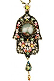 Michal Negrin Peace Doves Mosaic Hamsa Necklace