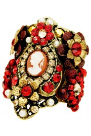 Michal Negrin Red Gold Cameo Cuff Ring