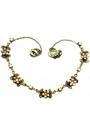Michal Negrin Pearl Pink Gold Flowers Necklace