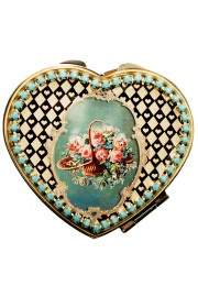 Michal Negrin Checkered Roses Heart Compact Mirror