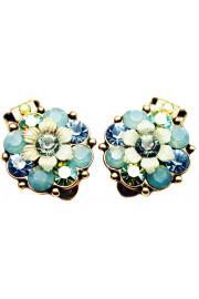 Michal Negrin Mint Green Aqua Crystals Clip Earrings