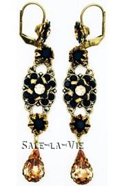 Michal Negrin Black Gold Crystal Drop Earrings
