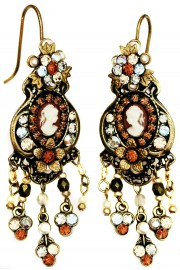 Michal Negrin Bronze Victorian Cameo Chandelier Earrings