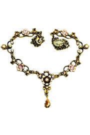Michal Negrin Gold Pink Pearl Ornate Necklace