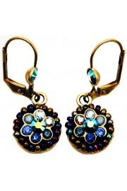 Michal Negrin Blue Swirl Wheel Earrings