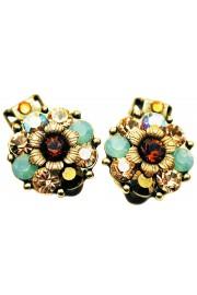 Michal Negrin Mint Green Bronze Crystals Clip Earrings