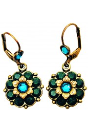 Michal Negrin Icy Green Turquoise Flower Earrings