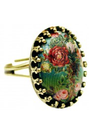 Michal Negrin Green Roses Small Cabochon Cameo Ring