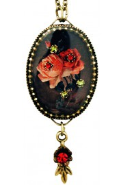 Michal Negrin Gothic Roses Oval Cameo Necklace