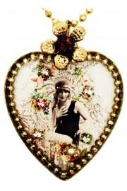 Michal Negrin Flapper Girl Heart Necklace