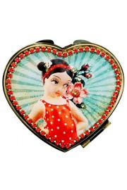 Michal Negrin Retro Girl Heart Compact Mirror