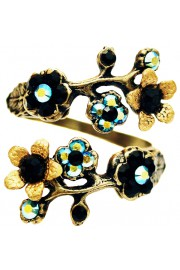 Michal Negrin Black Blue Cherry Blossom Wrap Ring