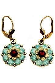 Michal Negrin Sea Green Red Flower Earrings