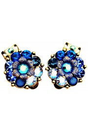 Michal Negrin Blue Swirl Crystals Clip Earrings