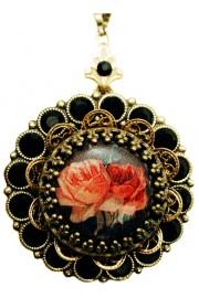 Michal Negrin Black Roses Locket Necklace