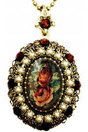 Michal Negrin Pearl Garnet Roses Locket Necklace