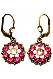 Michal Negrin Fuchsia Crystal Flower Earrings