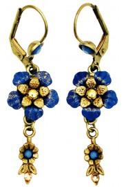 Michal Negrin Blue Gold Vintage Flower Earrings