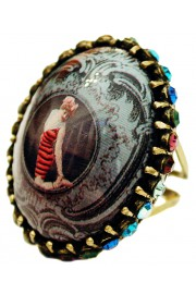 Michal Negrin Retro Swimmer Cameo Crystals Ring