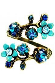 Michal Negrin Blue Turquoise Aqua Cherry Blossom Wrap Ring