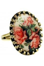 Michal Negrin Pink Roses Small Cabochon Cameo Ring