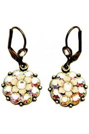 Michal Negrin Aurora Borealis Cream Flower Earrings